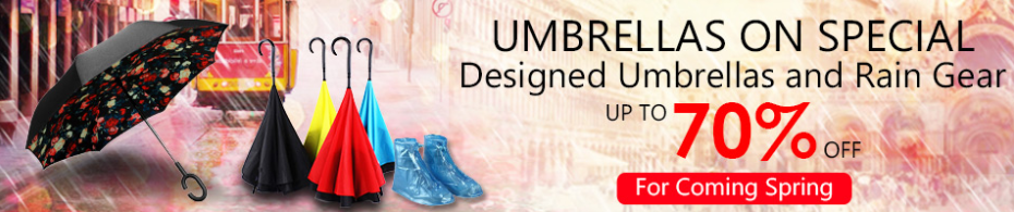 Up to 70% off for Umbrella and Raincoat Free Shipping!